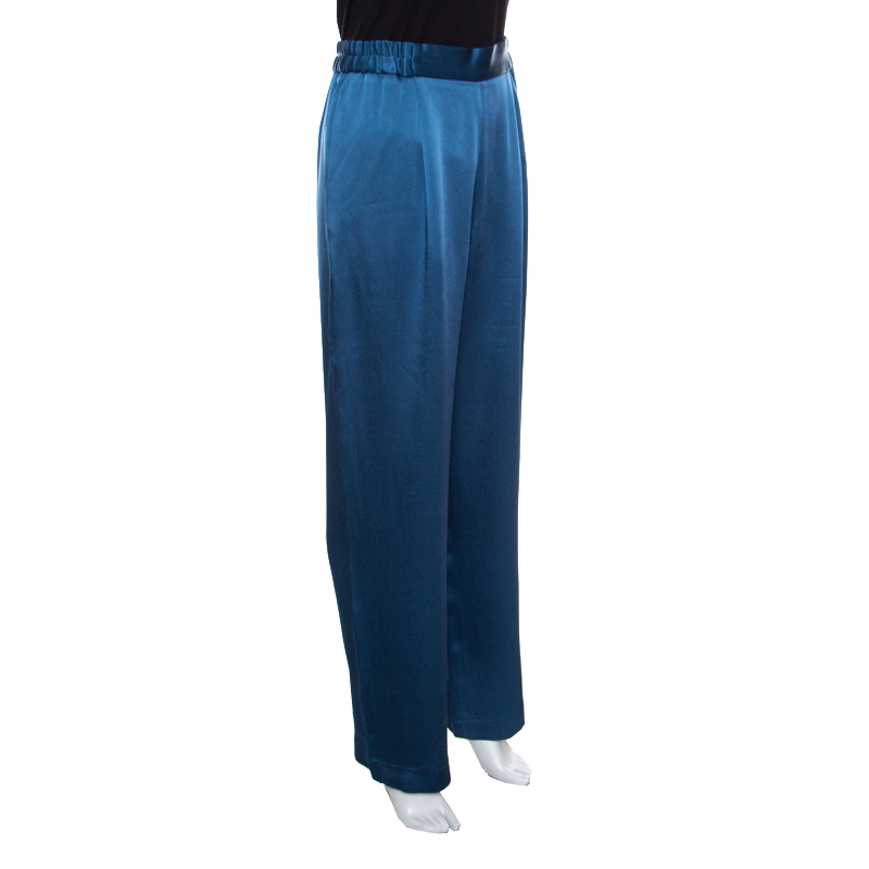 Stella McCartney Teal Cecily Satin Wide Leg Trousers, Blue