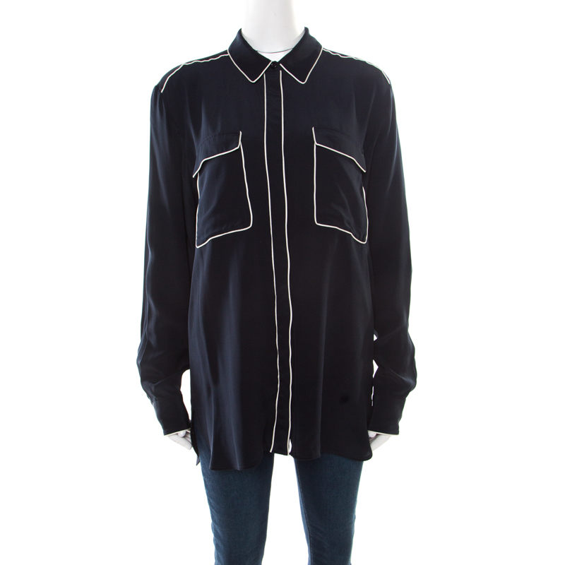 Stella McCartney Navy Blue Silk Crepe de Chine Eagle Embroidered Detail Shirt M