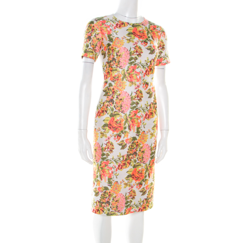 Stella McCartney Metallic Neon Floral Jacquard Ridley Sheath Dress, Multicolor