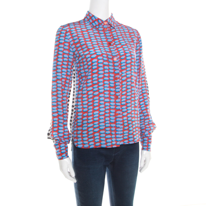 Stella McCartney Multicolor Speech Balloon Printed Silk Shirt
