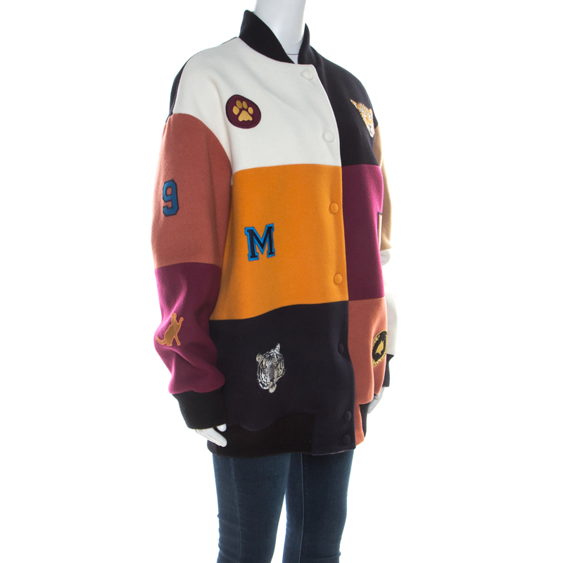 Stella McCartney Colorblock Melton Wool Blend Applique Detail Sabine Varsity Jacket, Multicolor