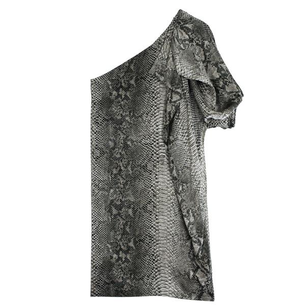Stella McCartney One Shoulder Snakeskin Print Dress S