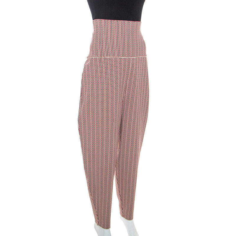 Stella McCartney Multicolor Houndstooth Pattern Knit Tapered Pants