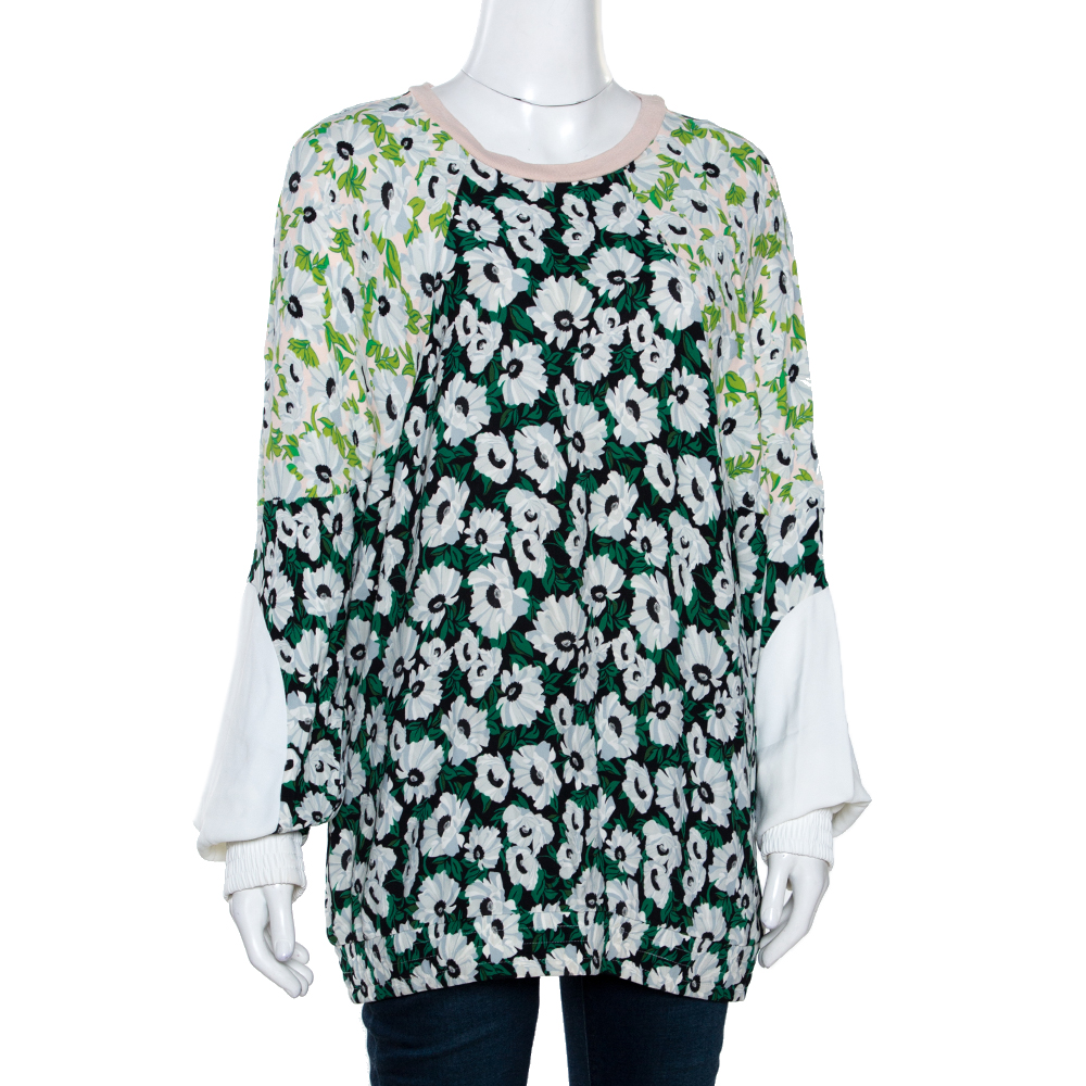 Stella McCartney Multicolor Floral Print Crepe Paneled Top