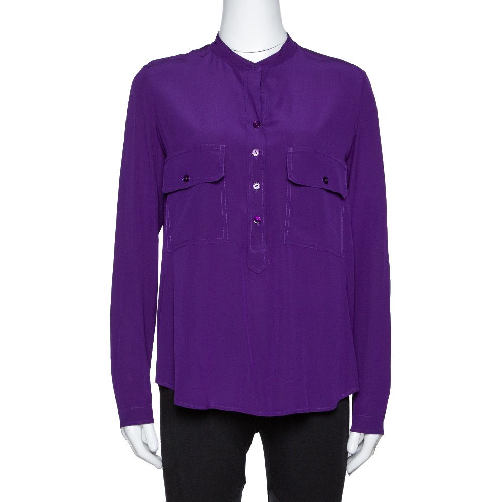Pre-owned Stella Mccartney Purple Silk Estelle Blouse Xs