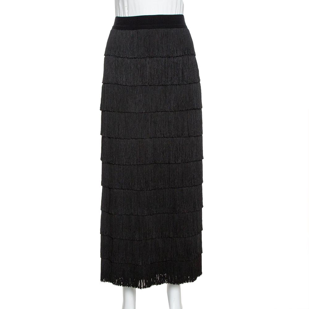 Pre-owned Stella Mccartney Black Silk Annika Tiered Fringed Skirt M