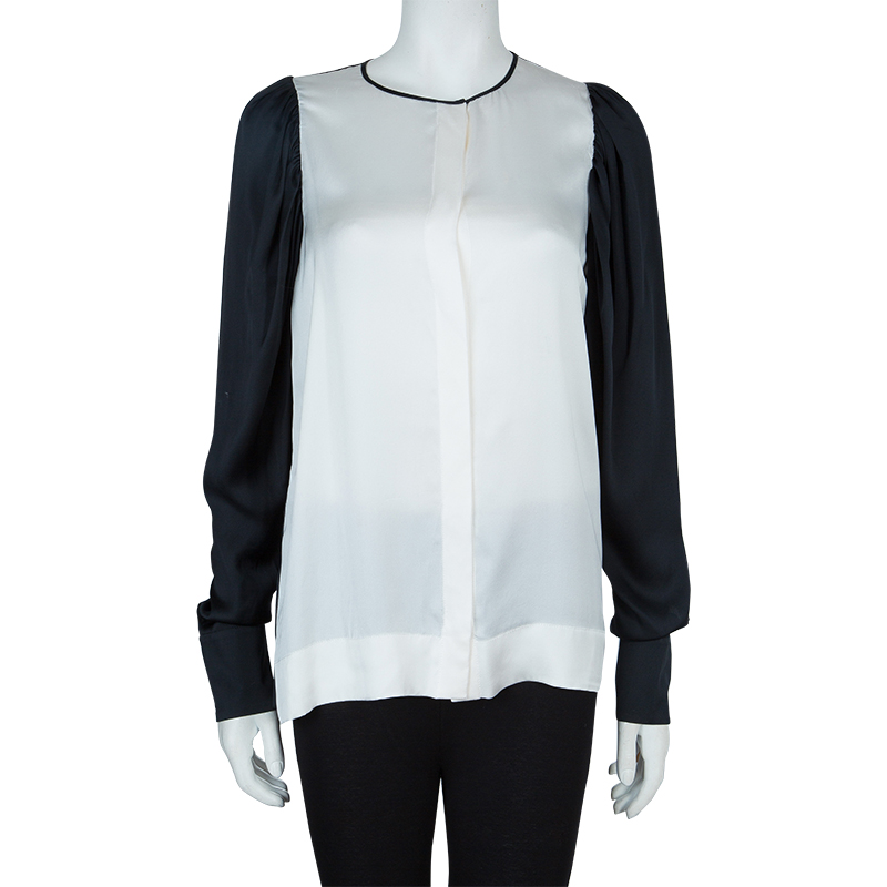 Stella McCartney Monochrome Gathered Sleeve Silk Blouse, Multicolor