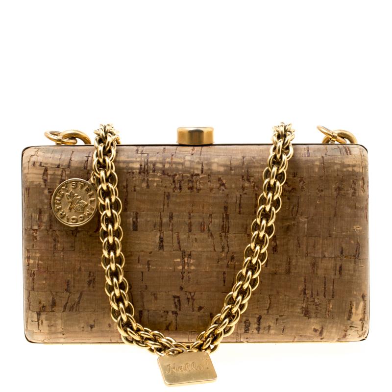 33ed49c333e Buy Stella McCartney Brown Cork Charm Chain Box Clutch 177107 at ...