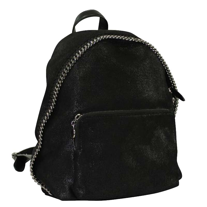 Stella McCartney Black Suede Falabella Small Backpack  - buy with discount