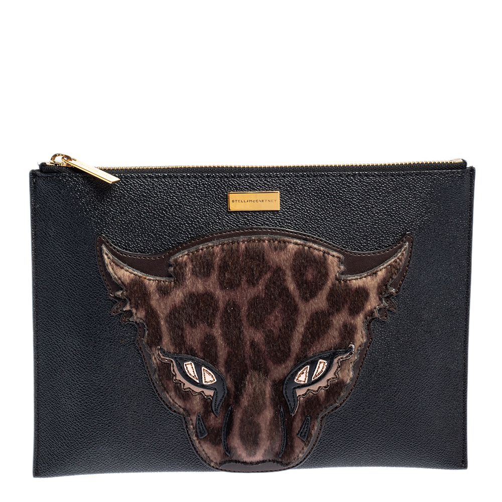 Pre-owned Stella Mccartney Black/brown Faux Leather And Calfhair Leopard Clutch