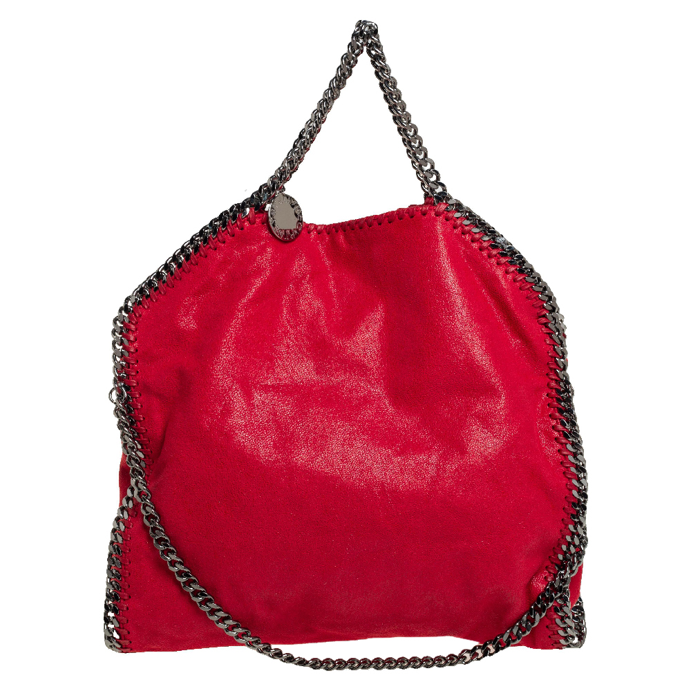 Pre-owned Stella Mccartney Red Faux Suede Small Falabella Tote