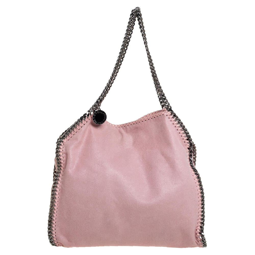 Pre-owned Stella Mccartney Pink Faux Suede Small Falabella Tote