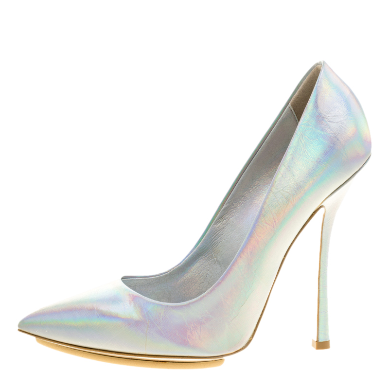 Stella McCartney Metallic Silver Holographic Faux Leather Pointed Toe Pumps Size