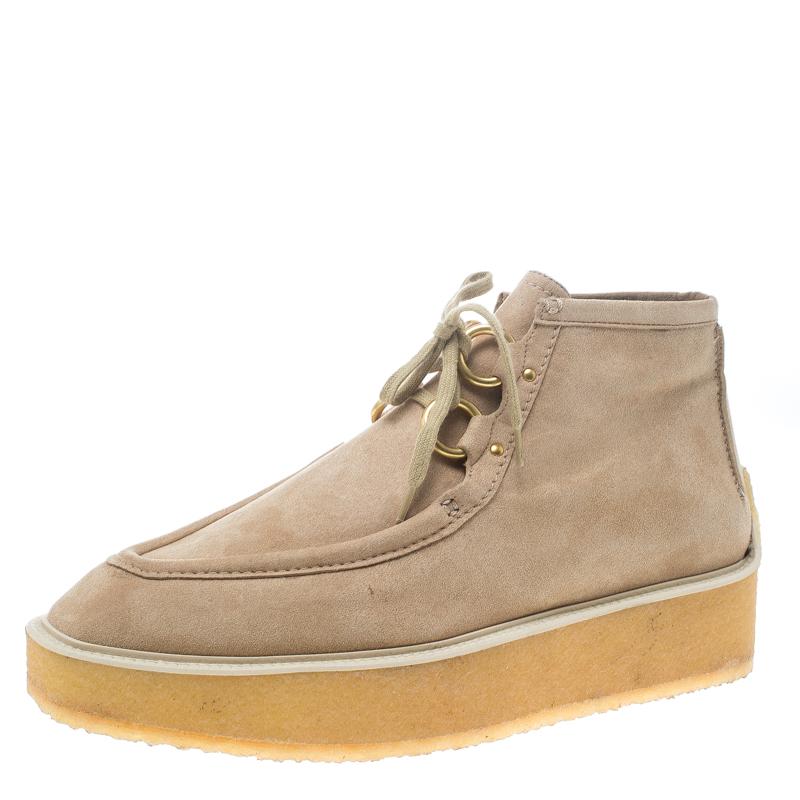 5365cc7e87ff ... Stella McCartney Beige Faux Suede High Clipper Platform Ankle Boots  Size 39.5. nextprev. prevnext