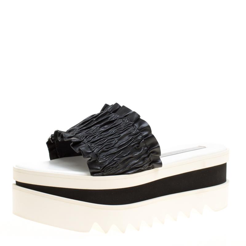 832e55030d59 ... Stella McCartney Black Ruffle Faux Leather Platform Slide Sandals Size  38. nextprev. prevnext