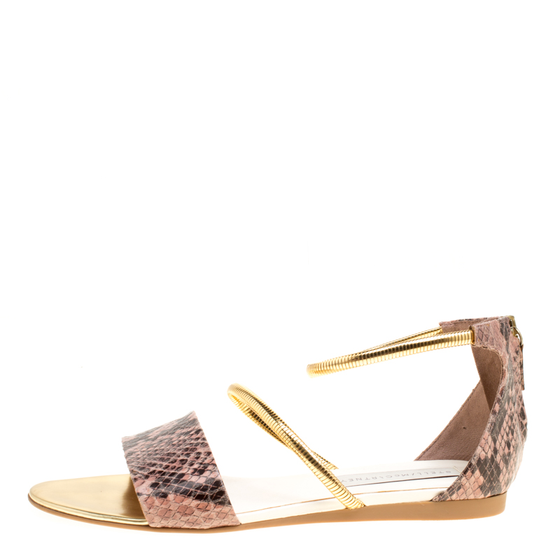 Купить со скидкой Stella McCartney Beige Faux Python Magwitch Flat Sandals Size 39