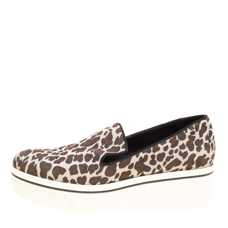 Купить со скидкой Stella McCartney Multicolor Leopard Print Canvas Platform Slip On Sneakers Size 38