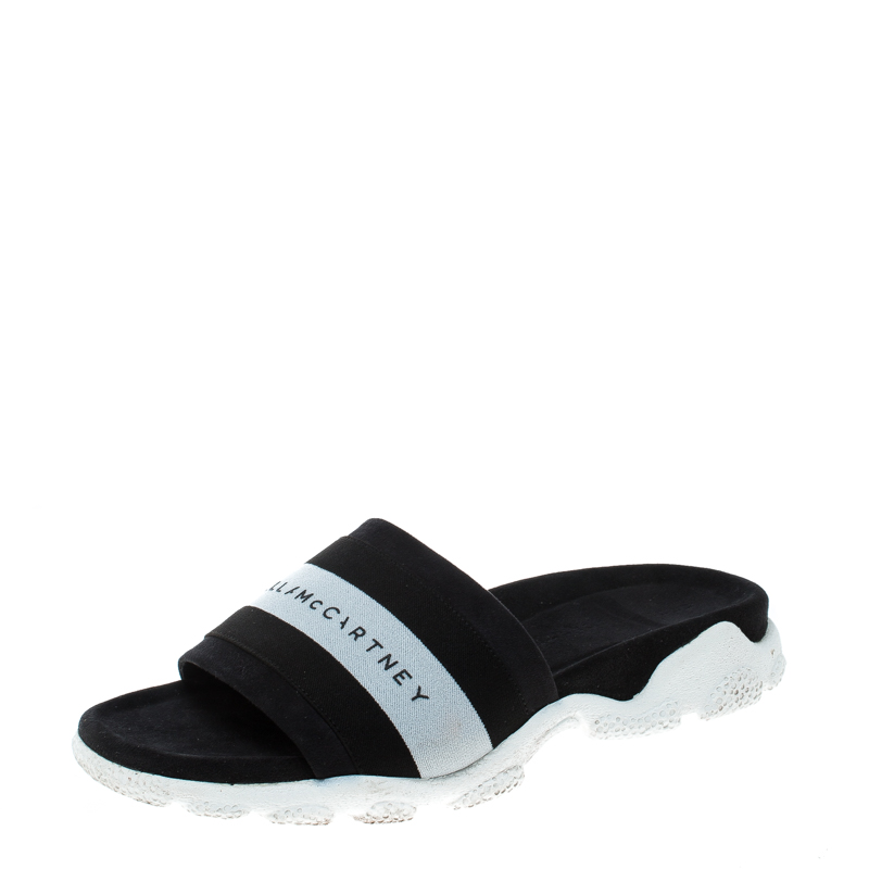 buy stella mccartney black faux suede and fabric sporty slides size