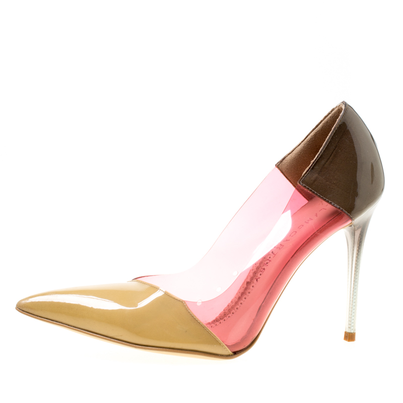 Stella McCartney Multicolor Patent Faux Leather and PVC Pointed Toe Pumps Size