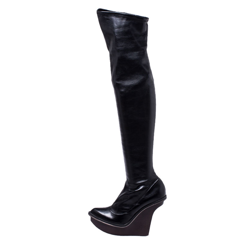 Stella McCartney Black Faux Leather Platform Over the Knee Boots Size