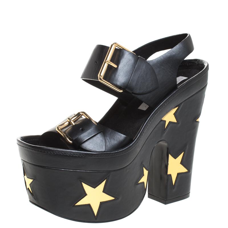 Stella McCartney Black Faux Leather Buckle Block Heel Star Platform Sandals Size 37