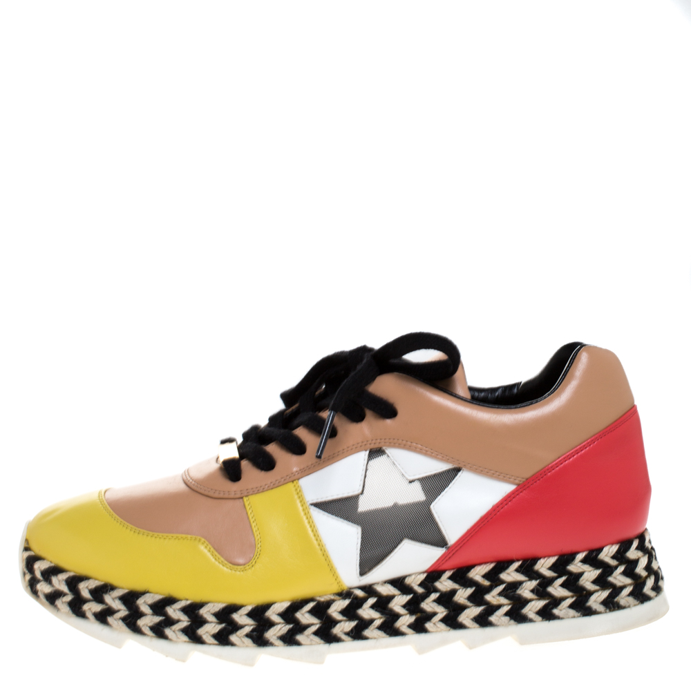 Stella McCartney Multicolor Faux Leather Star Macy Espadrille Sneakers Size