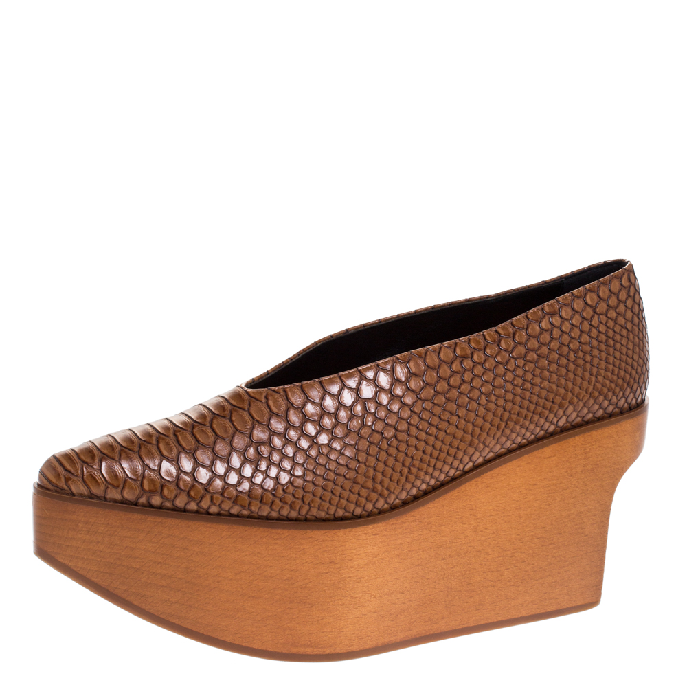 Stella McCartney Brown Python Embossed Faux Leather Wooden Clog Sandals Size 39