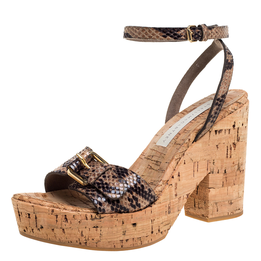 STELLA MCCARTNEY BROWN/BLACK PYTHON EFFECT FAUX LEATHER AND CORK PLATFORM ANKLE STRAP SANDALS SIZE 38