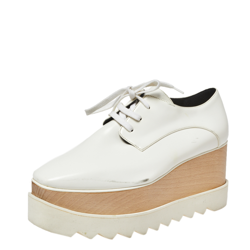 Get The Stella Mccartney White Faux Leather Elyse Platform Derby Size 37 From The Luxury Closet Now Accuweather Shop
