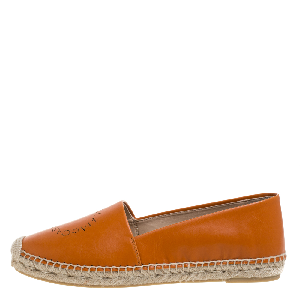 Stella McCartney Orange Faux Leather Logo Espadrilles Size 39
