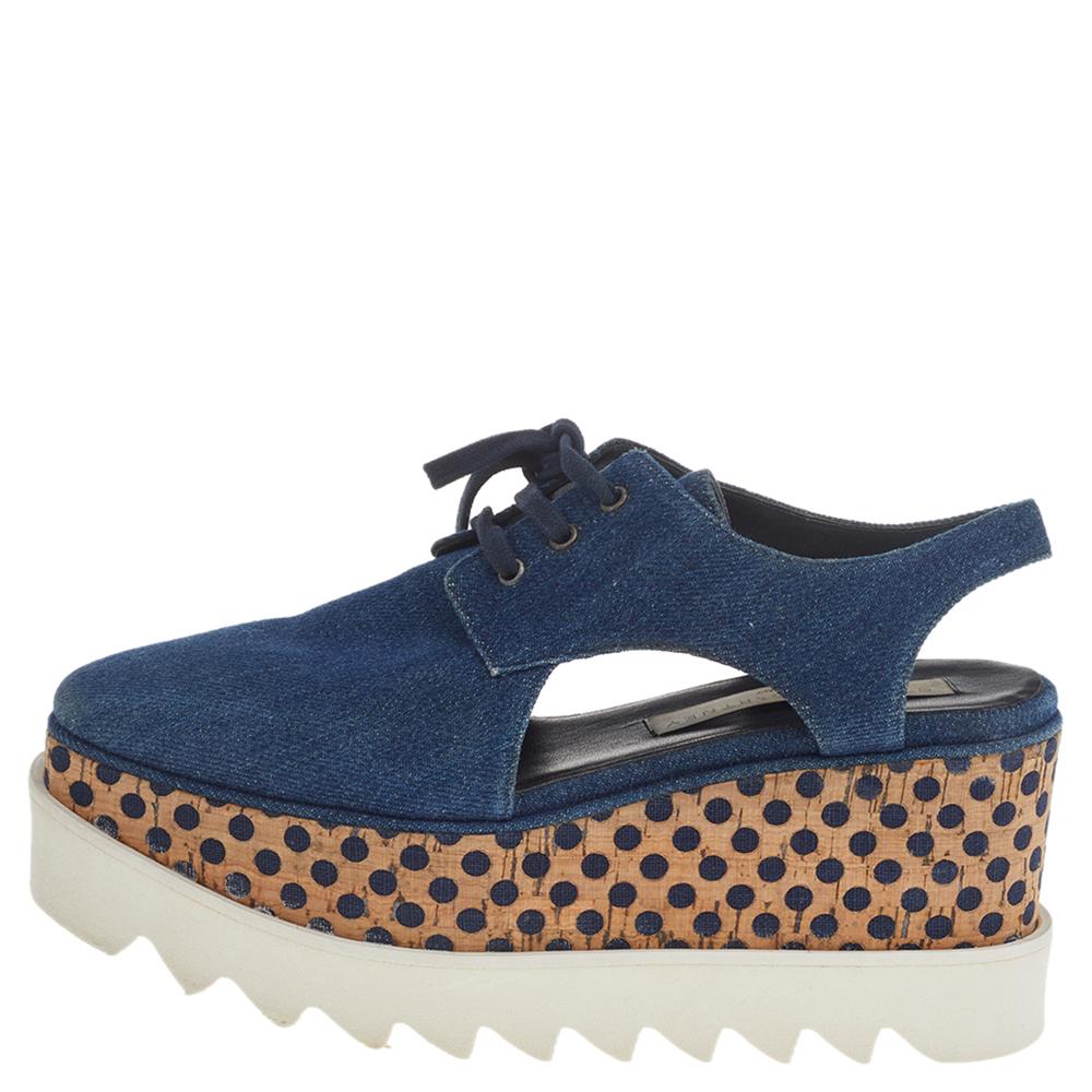 Stella McCartney Blue Cut Out Denim Elyse Lace Up Platform Oxfords Size 35