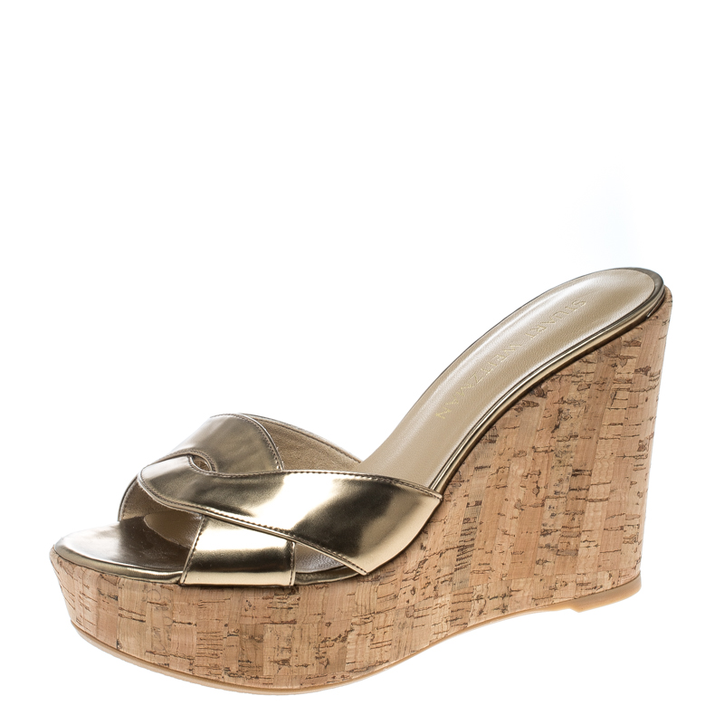 Buy Stuart Weitzman Gold Leather Overit Cork Wedge Mules Sandals