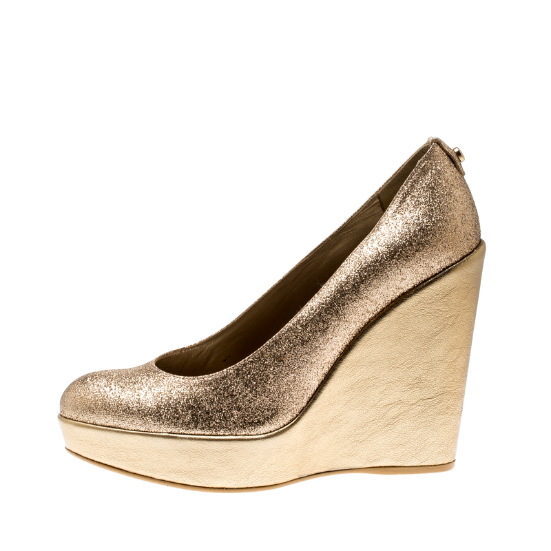Stuart Weitzman Metallic Gold Glitter Platform Wedges Pompes Taille 38