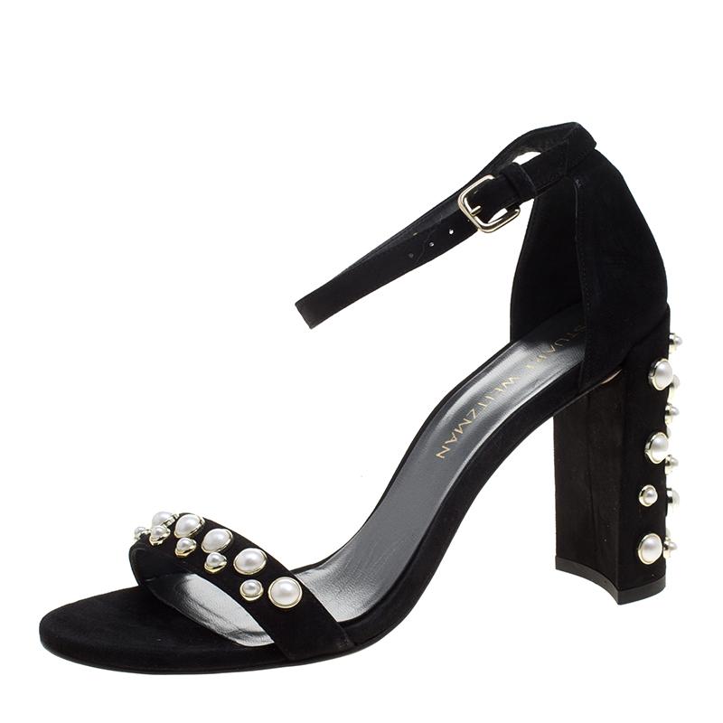 50d9daff600 ... Stuart Weitzman Black Suede Morepearls Embellished Ankle Strap Sandals  Size 39. nextprev. prevnext