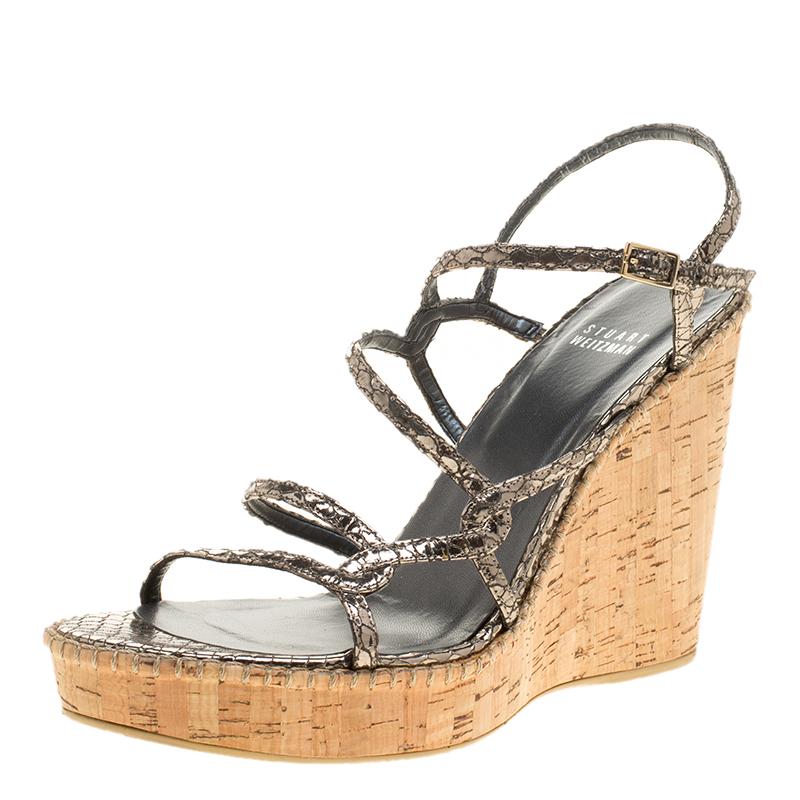 7f8b491118dd ... Metallic Silver Embossed Snakeskin Leather Cork Wedge Strappy Sandals  Size 40. nextprev. prevnext