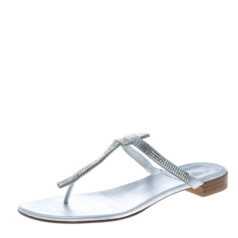 1a7ac45cb ... Stuart Weitzman Silver Leather Vanity Crystal Encrusted T Strap Flat  Sandals Size 39.5. nextprev. prevnext