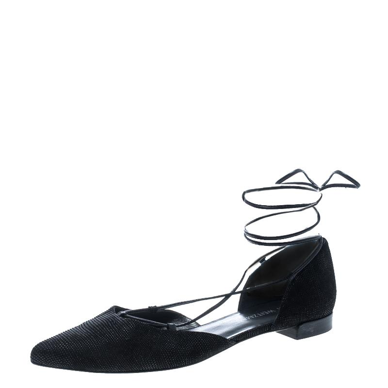 6eb152848b2 Stuart Weitzman Black Pyrite Fabric Giligan Lace Up Ballet Flats Size 40.5