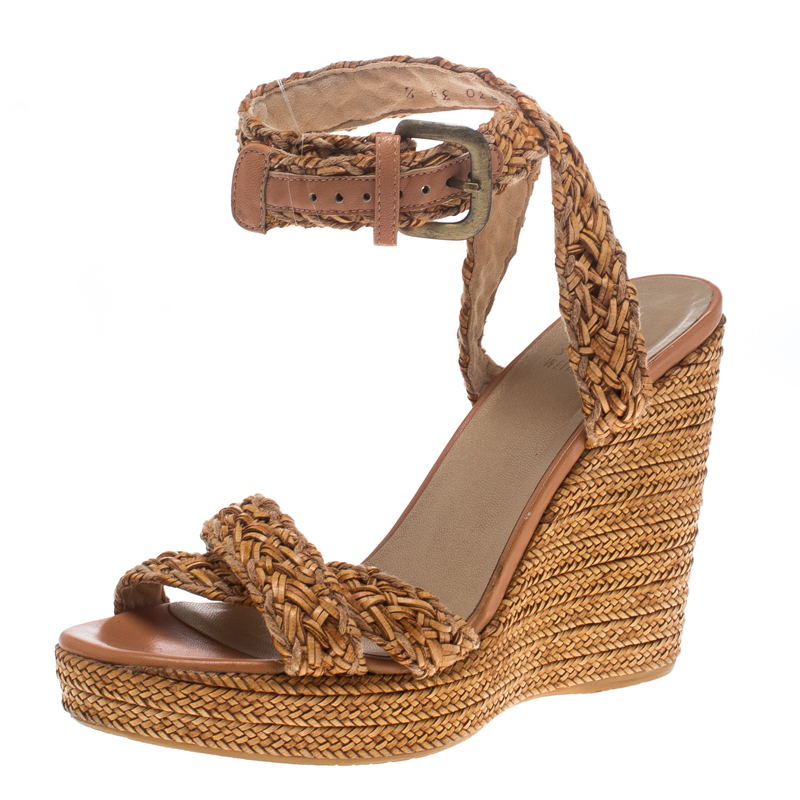 1f65b446119 Buy Stuart Weitzman Beige Leather and Raffia Braided Ankle Wrap ...