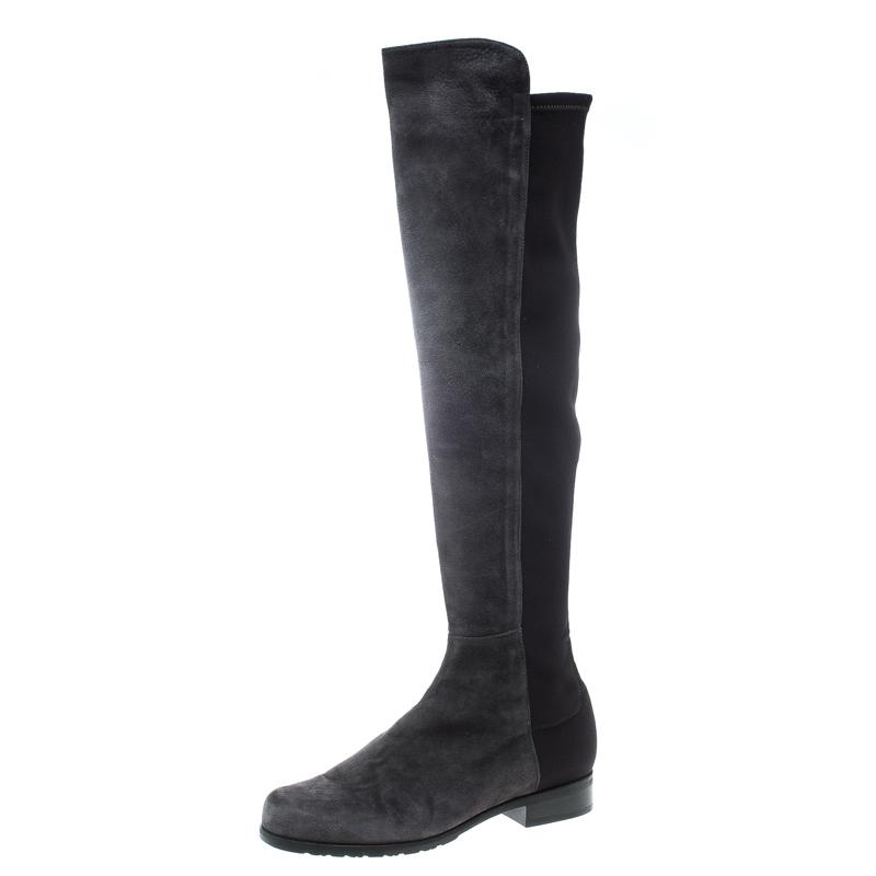 3bf1ecaa22dc Buy Stuart Weitzman Grey Black Suede and Fabric 50 50 Knee High ...
