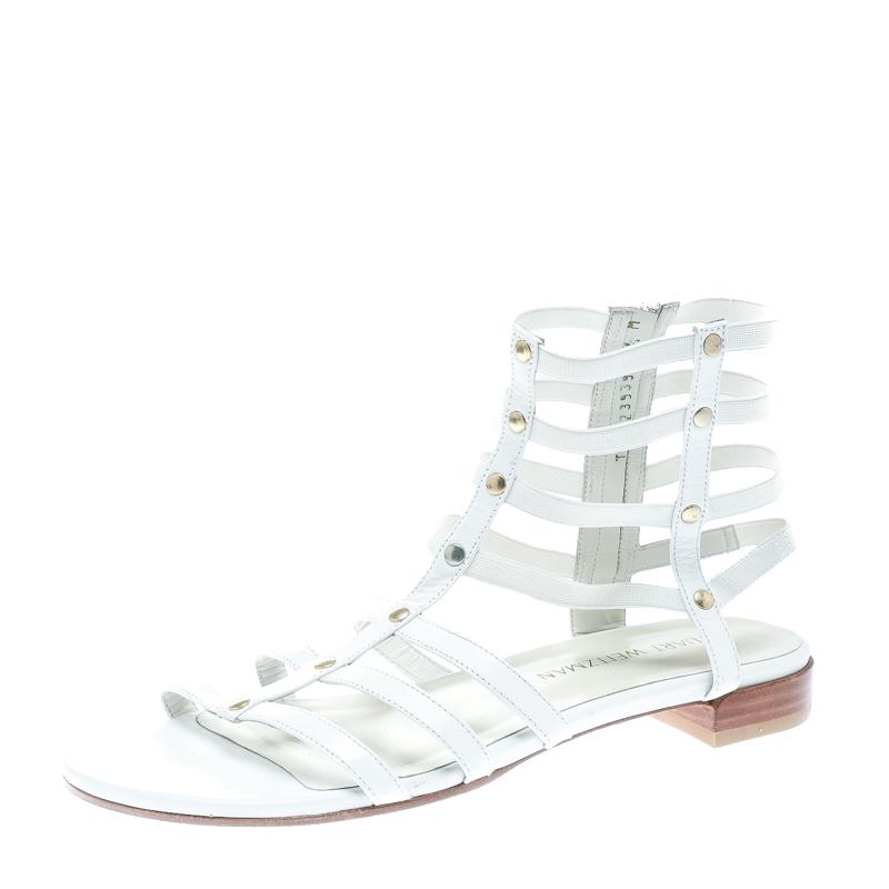 e3c2f1daa ... Stuart Weitzman White Leather Caesar Flat Gladiator Sandals Size 39.  nextprev. prevnext