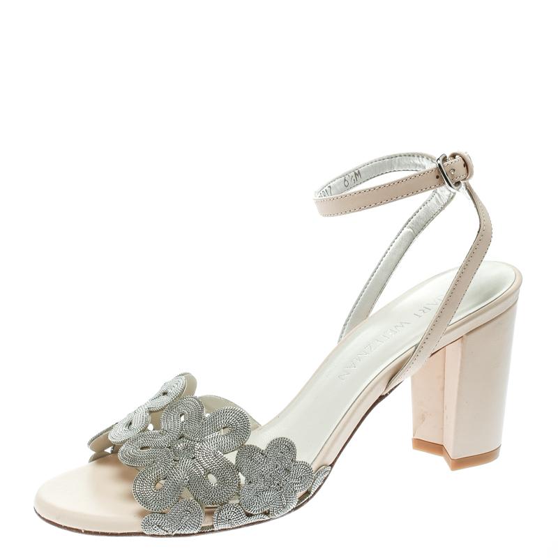 e38f2d4b63e ... Stuart Weitzman Beige Leather Chain Reaction Ankle Strap Sandals Size  37.5. nextprev. prevnext