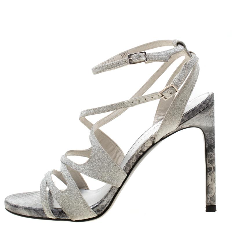 Stuart Weitzman Metallic Silver Glitter Et Python Embossed Leather Strappy Sandals Taille 38.5