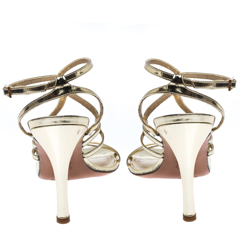 Stuart Weitzman Gold Patent Leather Strappy Sandals Size