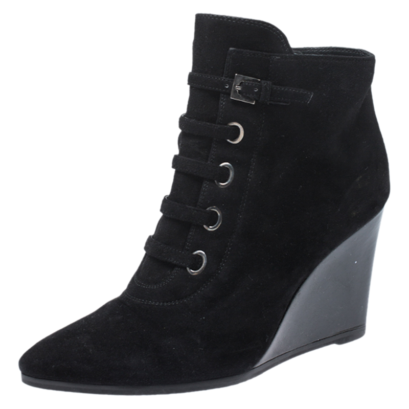 Stuart Weitzman Black Suede And Patent Leather Wedge Lace Detail Ankle Boots Size 38.5