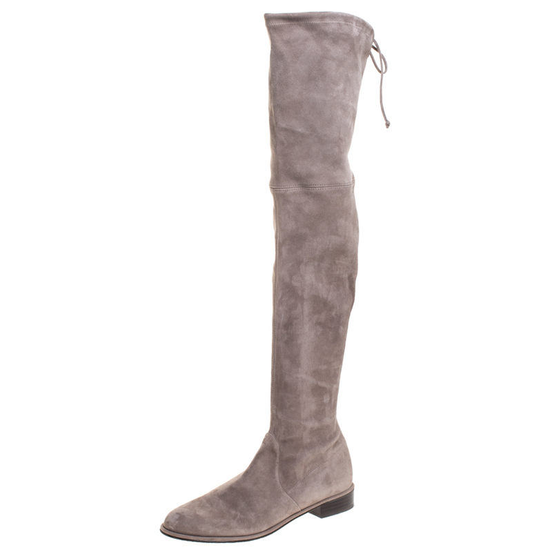 Stuart Weitzman Grey Suede Leather Over The Knee Boots Size 40