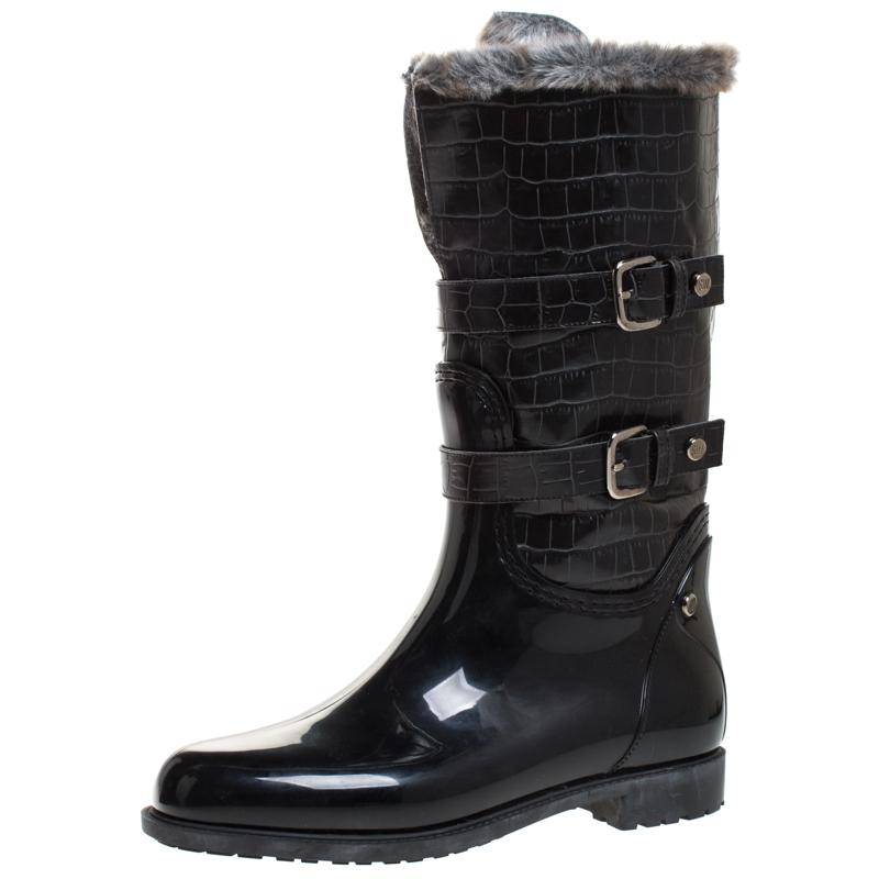Stuart Weitzman Black Croc Embossed Faux Leather And Faux Fur Trim Mid Calf Boots Size 41