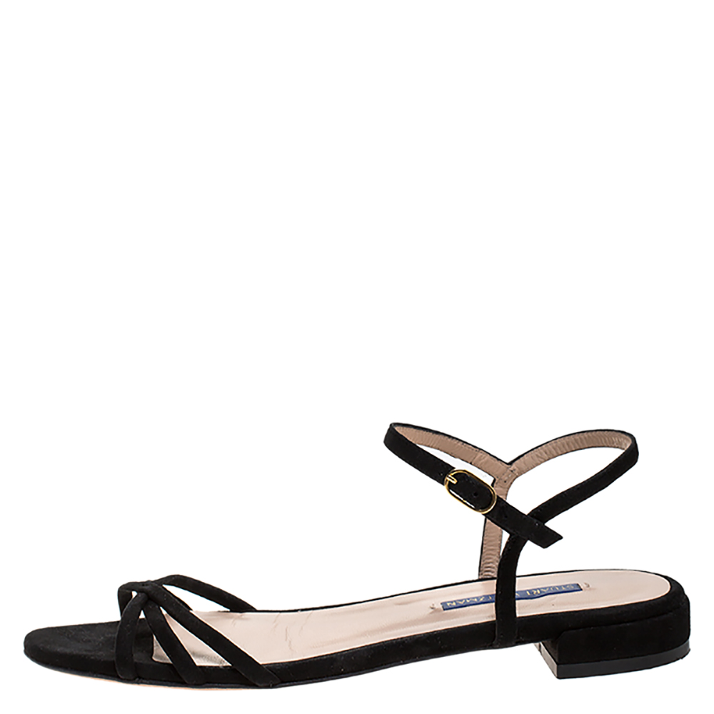 Stuart Weitzman Black Suede Starla Ankle Strap Flats Size 39