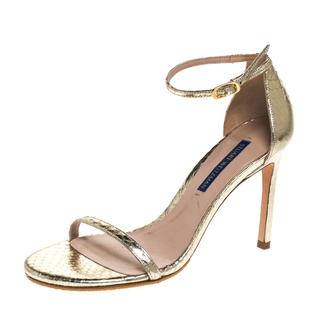 Stuart Weitzman Gold Python Embossed Leather Ankle Strap