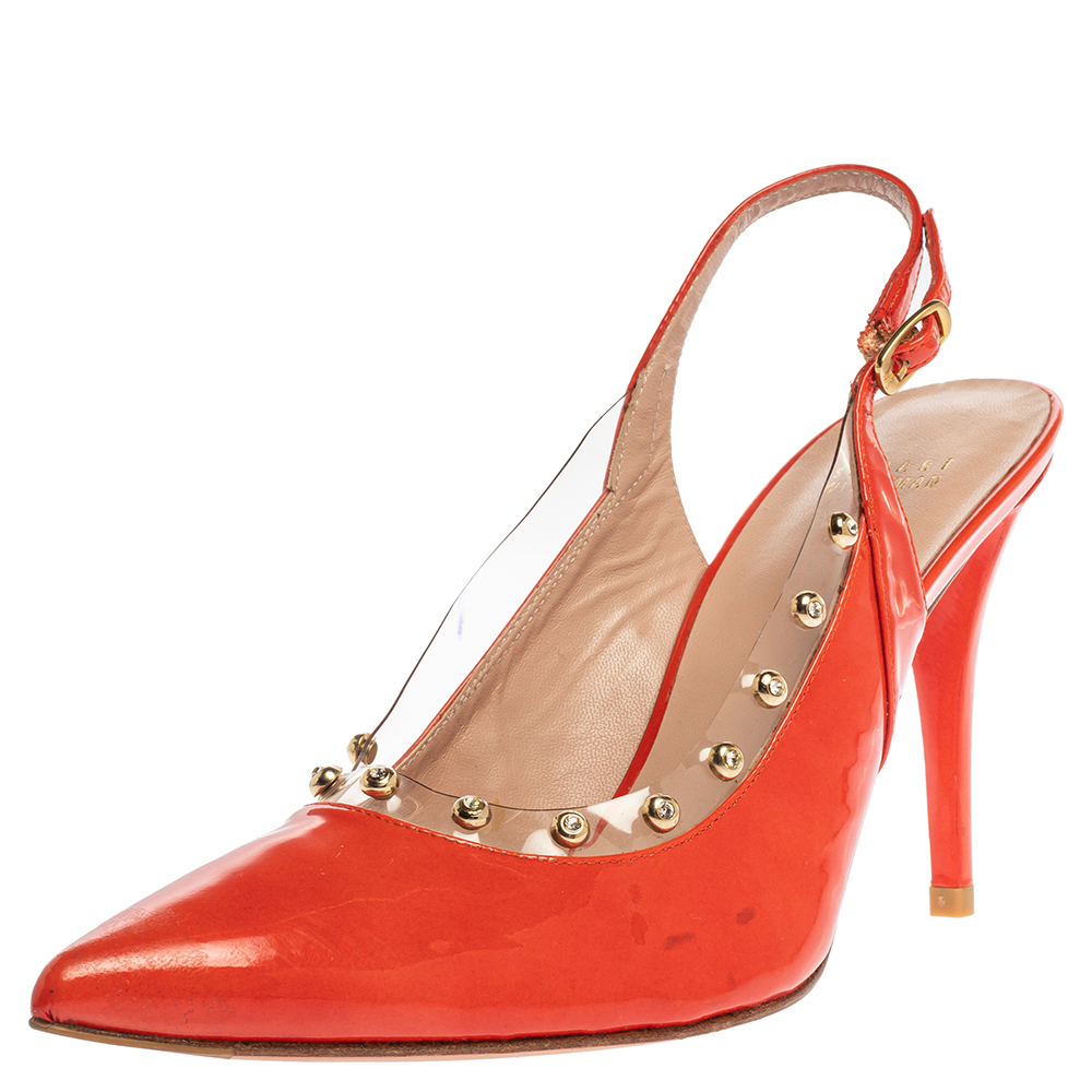 Pre-owned Stuart Weitzman Orange Patent Leather Moonglow Slingback Pumps Siize 40.5