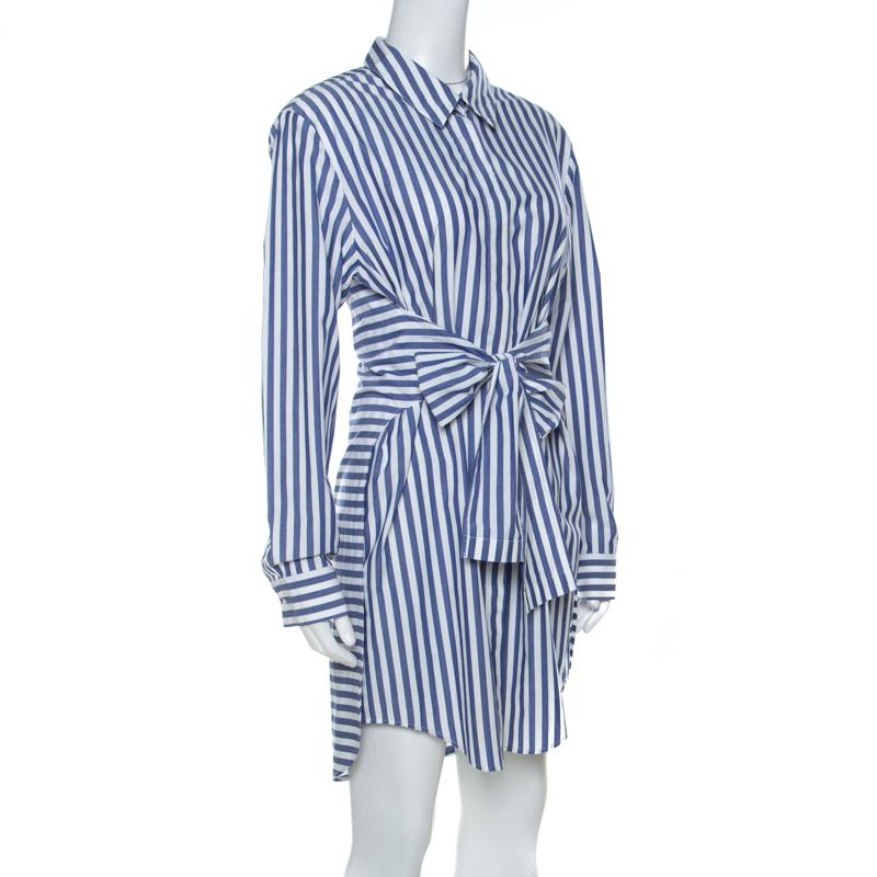 Alexander Wang Bleu Et Blanc Rayé En Coton Avant De La Cravate Courte Robe De S